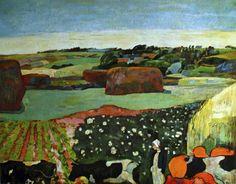 Paul Gauguin - Post Impressionism - Les meules - Landscape with cows - 1890