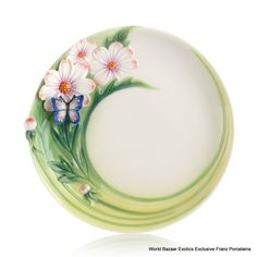 FZ03131 Franz Porcelain Cosmos and butterfly cake plate New Amazing