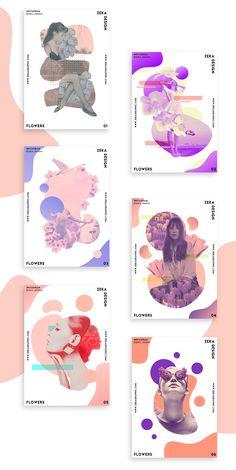 Flowers Poster Design Collection - Grafik-Design - Desings World Poster Design Layout, Poster Design Inspiration, Graphic Design Layouts, Graphic Design Projects, Graphic Design Posters, Poster Designs, Text Poster, Poster Art, Poster Retro