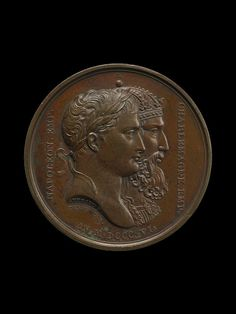 Bronze medal with portraits of Charlemagne and Napoleon, designed by Bertrand Andrieu, 1806