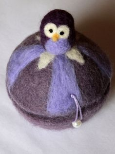 felted owl container