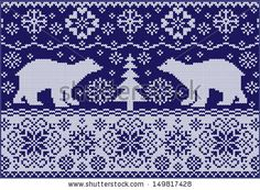 Knitted ornament with bears. Fashionable northern pattern. Knitted style. Creative illustration with winter bears.