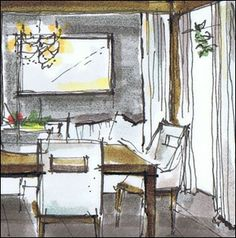 Interior - sketch up and marker render -   Michelle Morelan