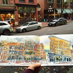 Sketching Gastown this afternoon with my fellow urban sketchers. 😀🎨📒 There's so much atmosphere of autumn here. Sharpie pen and Sakura Koi watercolors, 1 hour 45 minutes. #caobeckysketch