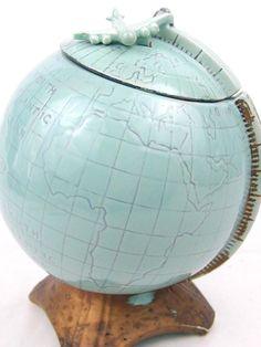 Vintage 1960 McCoy U.S.A. World Globe Cookie Jar with Airplane Lid