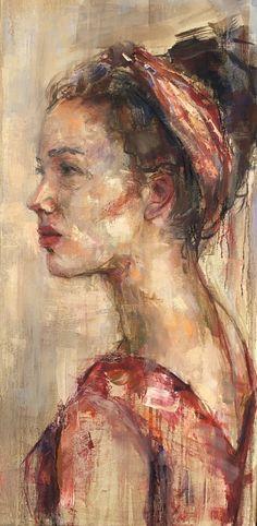 Mieke Robben, Red dress www. Figure Painting, Oil Painting On Canvas, Art For Art Sake, Art Sketchbook, Portrait Art, Face Art, Painting Techniques, Art Oil, New Art