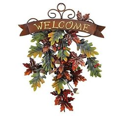 Fall Halloween Door Decor Falling Leaves Welcome Door And Wall Decor Decorations #CEtc