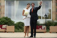 Prince Felix Of Luxembourg and Princess Claire of Luxembourg celebrate in front of photograhers after taking their vows at their Civil Weddi...