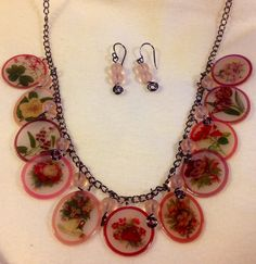 Flower Necklace And Earring Set by ScovilDesigns on Etsy, $34.50 Shrink plastic jewelry