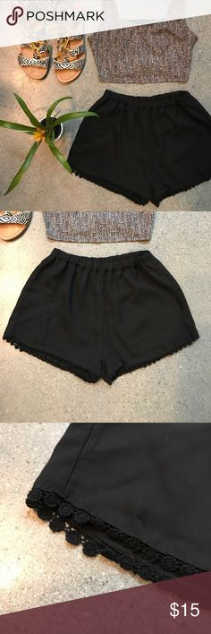 Brandy Melville • Black shorts Super cute black shorts from Brandy Melville. Her things are one size -- but I would say this is an XS/S. These shorts have little lace circle medallions on the bottom hem. Looks adorable with a crop top and some fun sandals. Brandy Melville Shorts