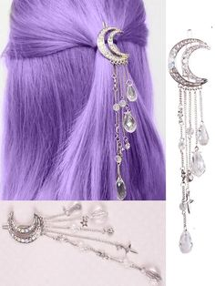 Moon Crystal Tassels Hair Clips
