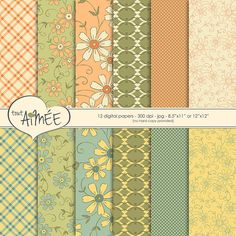 Digital Scrapbook Paper  Vintage Floral Dot and by ToutAimee $6.39