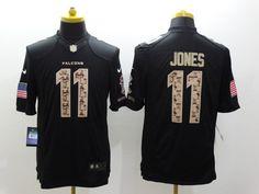 Men s NFL Atlanta Falcons  11 Jones Black Salute To Service Game Jersey  Falcons Football 7c87a2f15