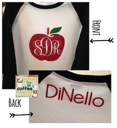 Apple Monogram Baseball Shirt {Adult MEDIUM} With Name on back...