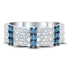 1 2 ct. tw. Blue   White Diamond Ring in 10K White Gold. Обручальные Кольца  С БриллиантамиБелые ... 411b85987c4