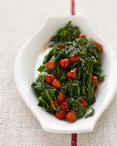 91 Quick Vegetable Side Dish Recipes ~ (shown) Wilted Spinach and Cherry Tomatoes. Great recipes to get more veggies in diet!