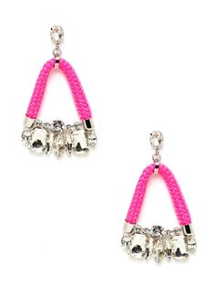 Neon Cord & Crystal Bell Drop Earrings by Noir Jewelry on Gilt.com