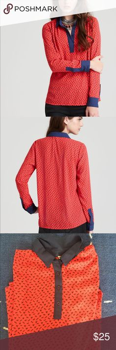 Free people horse print top/ blouse in red Good condition Free People Tops Button Down Shirts