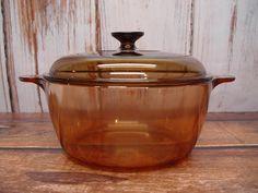 Amber Vision Ware Stock Pot Dutch Oven, 4.5 Liter by GandTVintage on Etsy