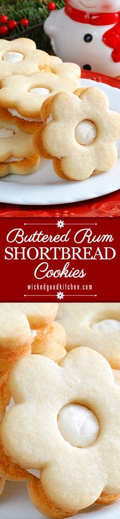 Buttered Rum Shortbread Cookies ~ Simply divine! Buttery, flavorful and fragrant melt-in-your-mouth rum butter cookies sandwiched with creamy rum buttercream filling. The perfect #Christmas butter cookie!