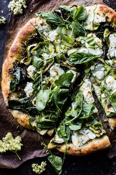 Oogling over how delicious this garden greens goddess pizza looks!