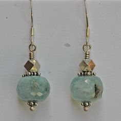 """Faceted aquamarines with sterling silver beads and earwires, 1 1/2"""" long"""