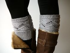 Light grey knit boot socks boot cuffs boot toppers by craftasta, $19.90