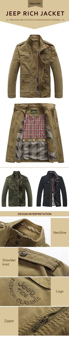 US$58.88#Jeep Rich Plus Size Military Epaulets Outdoor Stand Collar Casual Cotton Jacket for Men