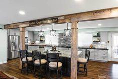 Rustic Kitchen, New Kitchen, Kitchen Decor, Kitchen Ideas, One Wall Kitchen, Kitchen Layouts, Farmhouse Kitchens, Island Kitchen, Kitchen Cabinets