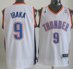 Oklahoma City Thunder #9 Serge Ibaka Revolution 30 Swingman White Jersey