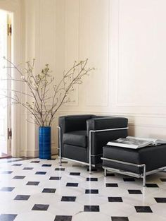 """LC-2 """"Fauteuil grand comfort, petit model"""" designed by Le Corbusier and C.Perriand for Maison La Roche:: 1928 :: and recently produced ottoman after the discovery of the original design among Charlotte Periand's files."""