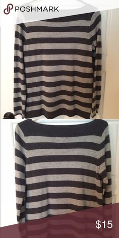 "Gray Striped Sweater Boat neck sweater with dark and light gray stripes. Measures 26"" long. Worn once. Very warm and comfy! 55% Nylon 30% Wool 15% Acrylic Gap Sweaters Crew & Scoop Necks"
