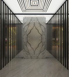 Who needs artwork when you have a striking book matched marble lobby from Monsieur James. Lobby Interior, Interior Exterior, Interior Walls, Interior Architecture, Building Architecture, Commercial Interiors, Commercial Design, L Wallpaper, Elevator Design