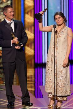 """Sharmeen Obaid-Chinoy won Oscars for – Best Documentary – Saving Face. """"To all the women in Pakistan who are working for change, don't give up on your dreams. This is for you."""""""