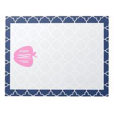 Pink Apple Navy Quatrefoil Monogram Teacher Note Pad from The Pink Schoolhouse