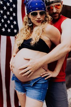This husband and wife duo didn't go for the norm when they decided on their funny maternity photos. They concieved in a trailer and that's the theme. Pregnancy Humor, Pregnancy Photos, Funny Maternity Pictures, Usa Shirt, Cut Off Jeans, Go Outside, Rock Music, Ohio, Hilarious