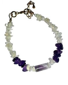 Amethyst and moonstone are two calming stones even just by looking at them. Amethyst (being by far one of my favourite stones) is associated