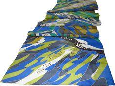 handpainted silk scarf blue River. 100% silk Hand by SilkMood