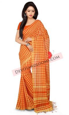 orange-color-checks-handloom-mangalagiri-cotton-saree-front-view