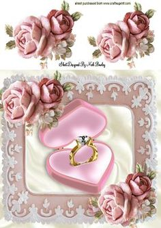 DIAMOND ENGAGEMENT RING IN FRAME OF PINK ROSES 8X8 on Craftsuprint designed by Nick Bowley - DIAMOND ENGAGEMENT RING IN FRAME OF PINK ROSES 8X8 Makes a pretty card, Add some sparkle and sentiment - Now available for download!