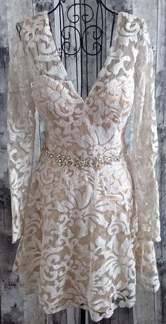 Masquerade Rhinestone Sequin Faux Pearl Lace Dress Bra Mesh Lined Size 7/8…