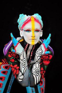 Colorful tribe body paint - ✯ www.pinterest.com/wholoves/Body-Art ✯ #BodyArt