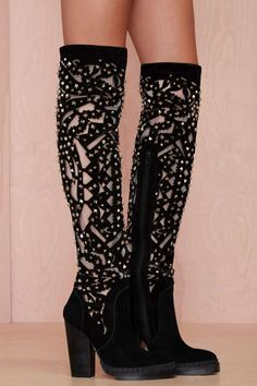 Jeffrey Campbell Basilica Studded Suede Boot - Shoes | Knee High | Heels | Jeffrey Campbell | All | Shoes | Sophia