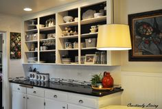Chalkboard Backed Open Cabinets - Creatively Living Blog
