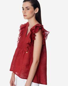 Ασύμμετρο λινό τοπ με βολάν | Regalinas Ruffle Blouse, Tops, Women, Fashion, Moda, Fashion Styles, Fashion Illustrations, Fashion Models