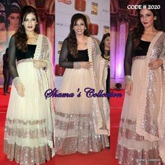 Couture Roll:  Anarkali  Email: shama.collection17@gmail.com OR   Message us: www.facebook.com/messages/Shama.Collection17 The most gorgeous Raveena tandon in an elegant black and white anarkali, this gives most  descent and eye catchy appearence in every family fuctions.    Like us for more updates https://www.facebook.com/Shama.Collection17