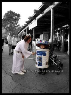 Cool Homemade Child's R2D2 Costume Made from a Collapsable Laundry Basket!...