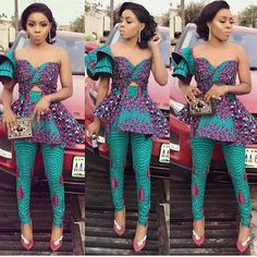 Shop this look here. Latest African dress styles 2018 Latest Ankara styles 2018 African dress African two piece Ankara pants Peplum top African Fashion Designers, Latest African Fashion Dresses, African Dresses For Women, African Print Fashion, Africa Fashion, African Wear, African Attire, African Outfits, African Prints