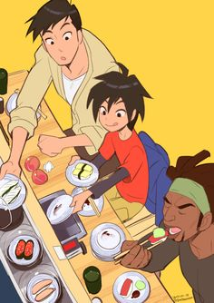 #Hidashi Tadashi and Hiro eating sushi. Oh, look! Wasabi is with them!