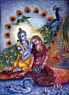 Shringar Leela, Original, Radha Krishna, Malerei, Pfau, Schwan, Lotus, Vintage, Liebe, Mythos, Mystic, Indian, Floral, Decor, von harten Malik